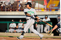 Isaiah Yates #9 of the Clinton LumberKings swings against the Burlington Bees at Community Field  on July 3, 2014 in Burlington, Iowa. The LumberKings beat the Bees 6-5.   (Dennis Hubbard/Four Seam Images)