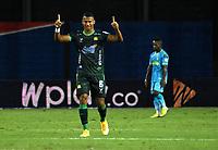 MONTERIA - COLOMBIA, 24-01-2021: Carlos Henao de Atletico Bucaramanga celebra el gol de su equipo a Jaguares de Cordoba F.C., durante partido entre Jaguares de Cordoba F. C. y Atletico Bucaramanga de la fecha 2 por la Liga BetPlay DIMAYOR I 2021, en el estadio Jaraguay de Monteria de la ciudad de Monteria. / Carlos Henao of Atletico Bucaramanga celebrates a scored goal of his team to Jaguares de Cordoba F.C., during a match between Jaguares de Cordoba F.C., and Atletico Bucaramanga, of the 2nd date for the BetPlay DIMAYOR I 2021 League at Jaraguay de Monteria Stadium in Monteria city. Photo: VizzorImage / Andres Lopez / Cont.
