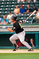 West Virginia first baseman Andrew Lefave (29) follows through on his swing versus Greenville at West End Field in Greenville, SC, Sunday, July 1, 2007.  Lefave had 2 hits to raise his South Atlantic League leading batting average to .350.
