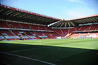 24th April 2021; The Valley, London, England; English Football League One Football, Charlton Athletic versus Peterborough United; Charltons goalkeepers warm up in the sunshine ahead of the game but empty due to the pandemic restrictions