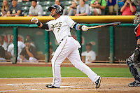 Luis Jimenez (7) of the Salt Lake Bees at bat against the Tacoma Rainiers in Pacific Coast League action at Smith's Ballpark on July 9, 2014 in Salt Lake City, Utah.  (Stephen Smith/Four Seam Images)