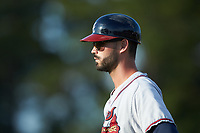 Danville Braves first base coach Connor Narron (13) during the game against the Burlington Royals at Burlington Athletic Stadium on July 13, 2019 in Burlington, North Carolina. The Royals defeated the Braves 5-2. (Brian Westerholt/Four Seam Images)