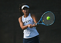 Bentonville West's Cassie Cervantes hits, Monday, October 11, 2021 during the 6A state girls and boys tennis tournament at Memorial Park in Bentonville. Check out nwaonline.com/211012Daily/ for today's photo gallery. <br /> (NWA Democrat-Gazette/Charlie Kaijo)