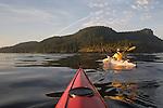 San Juan Islands, Sea Kayakers, Cypress Island, Rosario Strait, Puget Sound, Washington State, Pacific Northwest, USA,