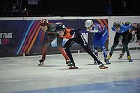 SPEEDSKATING: DORDRECHT: 05-03-2021, ISU World Short Track Speedskating Championships, Heats 1000m Ladies, Courtney Sarault (CAN), Xandra Velzeboer (NED), Evgeniya Zakharova (RSU), ©photo Martin de Jong