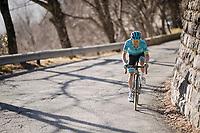 Miguel Ángel López (COL/Astana) up the final climb: the Col de Turini<br /> <br /> Stage 7: Nice to Col de Turini (181km)<br /> 77th Paris - Nice 2019 (2.UWT)<br /> <br /> ©kramon