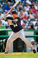 23 August 2009: Milwaukee Brewers' third baseman Casey McGehee in action against the Washington Nationals at Nationals Park in Washington, DC. The Nationals defeated the Brewers 8-3 to take the third game of their four-game series, snapping a five games losing streak. Mandatory Credit: Ed Wolfstein Photo
