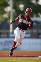 Batavia Muckdogs second baseman Giovanny Alfonzo (8) running the bases during a game against the Mahoning Valley Scrappers on July 3, 2015 at Dwyer Stadium in Batavia, New York.  Batavia defeated Mahoning Valley 7-4.  (Mike Janes/Four Seam Images)