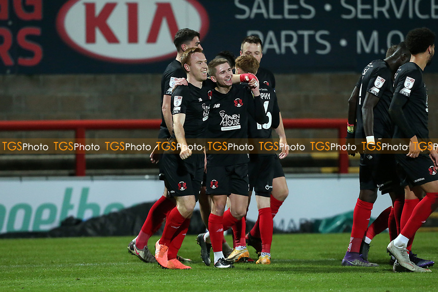 O's goalscorer Danny Johnson (left) with Sam Ling celebratesduring Morecambe vs Leyton Orient, Sky Bet EFL League 2 Football at the Globe Arena on 15th December 2020