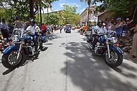 2012 St. John Carnival Parade.The police escort at the start of the parade.Cruz Bay, U.S. Virgin Islands