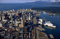 Aerial view of the Vancouver skyline. Vancouver, Canada.