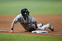 Lamar Sparks (20) of the Delmarva Shorebirds slides head first into third base after hitting a triple against the Fredericksburg Nationals at Fredericksburg Nationals Ballpark on July 28, 2021 in Fredericksburg, Virginia. (Brian Westerholt/Four Seam Images)