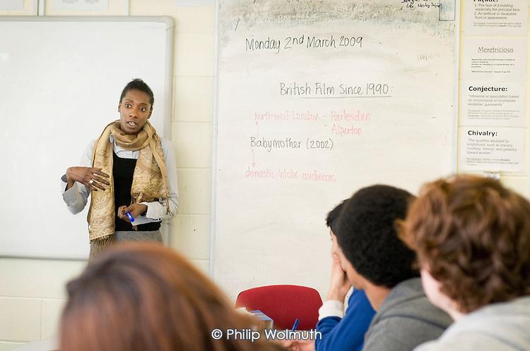 Michelle McLeod, Advanced Skills Teacher, teaches a Media Studies A Level class at Preston Manor School, Wembley