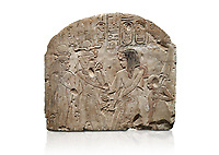 Ancient Egyptian stele depicting Sethy I adoring Amenhotep I and Nefertari, limestone, New Kingdom, 19th Dynasty, (1279-1213 BC), Deir el-Medina,  Egyptian Museum, Turin. White background. Schiaparelli Cat 6189.