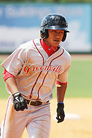 Greenville Drive infielder Tzu-Wei Lin #36 running the bases during a game against the Charleston RiverDogs at Joseph P. Riley Jr. Ballpark  on April 9, 2014 in Charleston, South Carolina. Greenville defeated Charleston 6-3. (Robert Gurganus/Four Seam Images)