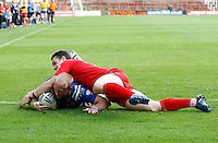Photo: Richard Lane/Richard Lane Photography. Crusaders v Hull KR. Engage Super League. 09/07/2011. KR's Shaun Briscoe dives in for a try.