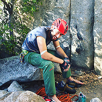 """Pictured: Andrew Foster at Yosemite National Park.<br /> Re: A British climber was killed and his wife seriously injured living their """"big dream"""" on one of the toughest rock faces in the world.<br /> Andrew Foster, 32, and his wife Lucy, 28, were buried under tons of falling rock as they prepared for their climb.<br /> Experienced climber Andrew was killed but Lucy was rescued and airlifted to hospital where she was in a """"critical"""" condition.<br /> The couple were married a year ago and the three-week trip to the Yosemite National Park in California was part of their first wedding anniversary celebrations.<br /> They had ben training for the expedition for six months and flew off to the States on September 11 along with other members of their climbing club.<br /> Andrew and Lucy, from Cardiff, were scouting out a descent of the iconic rockface El Capitan when a """"sheet"""" of granite fell on them.<br /> Rangers on the national park beauty spot said a piece of granite 40 metres by 20 metres fell from a height of 200 metres while the couple were below.<br /> Patagonia, a company owned by Andrew Foster has confirmed the incident."""