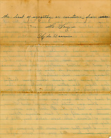 "BNPS.co.uk (01202 558833)<br /> Pic: RRAuction/BNPS<br /> <br /> 'So long - Clyde Barrow' Clyde's bitter letter, written by Bonnie, to former gang member Raymond Hamilton in prison awaiting execution in Dallas.<br /> <br /> Crime Pays - The fascinating and poignant archive of America's most notorious gangster couple have sold for a whopping £150,000 at auction.<br /> <br /> The enduring myth of Bonnie and Clyde perpetuated by Hollywood movies led to historic items from their bloody rampage across the wild west fetching high prices over the weekend.<br /> <br /> A pump action shotgun they ditched during a famous shoot-out was sold alongside poignant poetry written by Bonnie, and a bitter letter from Clyde to a former gang member.<br /> <br /> The weapon, with a 15ins barrel, was recovered by police following a gun fight between the infamous outlaws and the authorities at Joplin, Missouri, in 1933, during which two officers were killed.<br /> <br /> Also included in the sale is a gold wristwatch recovered from Clyde's body following his death, a bulletproof jacket found in their car and a no holds barred letter penned by Bonnie, and signed by Clyde, to a hated ex member of the Barrow Gang in prison.<br /> <br /> In it, she writes: ""Due to the fact that you offered no resistance sympathy is lacking. The most I can do is hope you miss the 'chair'."""