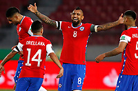 13th November 2020; National Stadium of Santiago, Santiago, Chile; World Cup 2020 Football qualification, Chile versus Peru;  Arturo Vidal of Chile celebrates his goal in the 20th minute for 1-0 Fabián Orellana and Paulo Díaz in the 20th minute 1-0