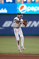 Charleston RiverDogs first baseman Matt Dyer (10) makes a throw to first base during the Low-A East Championship game against the Down East Wood Ducks at Joseph P. Riley, Jr. Park on September 26, 2021 in Charleston, South Carolina. (Brian Westerholt/Four Seam Images)