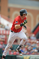 Erie SeaWolves catcher Grayson Greiner (21) runs to first base during a game against the Hartford Yard Goats on August 6, 2017 at UPMC Park in Erie, Pennsylvania.  Erie defeated Hartford 9-5.  (Mike Janes/Four Seam Images)