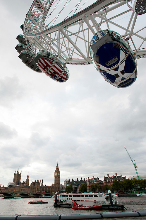 The London Eye and the Houses of Parliament are the backdrop for the launch of the Rugby World Cup England 2015- 15/09/2015 - London Eye - London <br /> Mandatory Credit: Rob Munro/Stewart Communications
