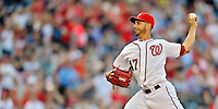 15 June 2012: Washington Nationals pitcher Gio Gonzalez takes his pre-game warm-up pitches prior to a game against the New York Yankees at Nationals Park in Washington, DC. The Yankees defeated the Nationals 7-2 in the first game of their 3-game series. Mandatory Credit: Ed Wolfstein Photo