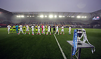 Pictured: Players greet each other before kick off Monday 15 May 2017<br />Re: Premier League Cup Final, Swansea City FC U23 v Reading U23 at the Liberty Stadium, Wales, UK