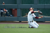 Virginia Tech Hokies right fielder Gavin Cross (19) makes a sliding catch during the game against the Georgia Tech Yellow Jackets at English Field on April 17, 2021 in Blacksburg, Virginia. (Brian Westerholt/Four Seam Images)