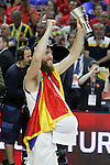 Real Madrid's Sergio Rodriguez celebrates the victory in the Euroleague Final Match. May 15,2015. (ALTERPHOTOS/Acero)