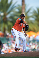Baltimore Orioles relief pitcher Cesar Cabral (64) delivers a pitch during a Spring Training game against the Minnesota Twins on March 7, 2016 at Ed Smith Stadium in Sarasota, Florida.  Minnesota defeated Baltimore 3-0.  (Mike Janes/Four Seam Images)