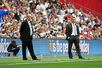 FAO: SPORTS PICTURE DESK-NO BYLINE PLEASE<br /> Pictured L-R: Team managers Brian McDermott of Reading and Brendan Rodgers of Swansea. Monday 30 May 2011<br /> Re: Reading v Swansea npower Championship play-offs final at the Wembley Stadium, London.<br /> NO BYLINE PLEASE