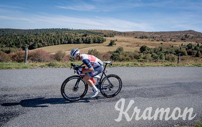 Edward Theuns (BEL/Trek-Segafredo) descending the Col du Béal<br /> <br /> Stage 14 from Clermont-Ferrand to Lyon (194km)<br /> <br /> 107th Tour de France 2020 (2.UWT)<br /> (the 'postponed edition' held in september)<br /> <br /> ©kramon