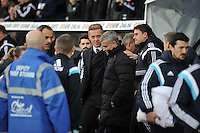 SWANSEA, WALES - JANUARY 17:   of  during the Barclays Premier League match between Swansea City and Chelsea at Liberty Stadium on January 17, 2015 in Swansea, Wales.<br /> Swansea manager Garry Monk and Chelsea manager Jose Mourihno