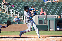 Surprise Saguaros first baseman Charles Leblanc (12), of the Texas Rangers organization, swings at a pitch during an Arizona Fall League game against the Salt River Rafters at Salt River Fields at Talking Stick on November 5, 2018 in Scottsdale, Arizona. Salt River defeated Surprise 4-3 . (Zachary Lucy/Four Seam Images)