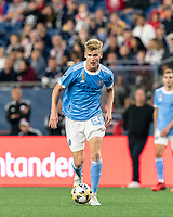 FOXBOROUGH, MA - SEPTEMBER 11: Keaton Parks #55 of New York City FC brings the ball forward during a game between New York City FC and New England Revolution at Gillette Stadium on September 11, 2021 in Foxborough, Massachusetts.