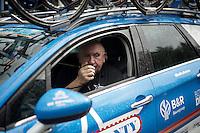 DS Hilaire Van der Schueren (BEL/Wanty-Groupe Gobert) checking the race radio pre-race<br /> <br /> 50th GP Jef Scherens 2016