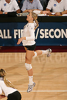 30 November 2007: Erin Waller during Stanford's 3-0 win over Santa Clara University in the first round of the NCAA Division 1 Women's Volleyball Championships in Maples Pavilion in Stanford, CA.