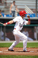 Auburn Doubledays left fielder Nick Banks (34) at bat during a game against the Vermont Lake Monsters on July 13, 2016 at Falcon Park in Auburn, New York.  Auburn defeated Vermont 8-4.  (Mike Janes/Four Seam Images)