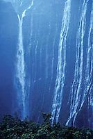 Waterfalls below Mt. Wai`ale`ale, headwaters of Wailua River, after thunderstorm. East Kaua`i.