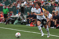 USWNT's Megan Rapinoe(15) dribbles the ball. The U.S. Women's National Team defeated 1-0 in a friendly match at Marina Auto Stadium in Rochester, NY on July 19, 2009. Abby Wambach of the USWNT scored her 100th career goal in the second half..