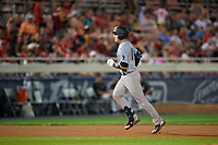 Trenton Thunder Kellin Deglan (11) rounds the bases after hitting a home run during an Eastern League game against the Reading Fightin Phils on August 16, 2019 at FirstEnergy Stadium in Reading, Pennsylvania.  Trenton defeated Reading 7-5.  (Mike Janes/Four Seam Images)