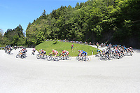 26th May 2021; Canazei, Trentino, Italy; Giro D Italia Cycling, Stage 17 Canazei to Sega Di Ala ; The peloton  on a sweeping downhill bend