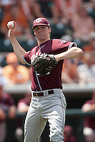 Texas A&M Aggies pitcher Ross Stripling #36 attempts to pick off at first during the NCAA baseball game against the Texas Longhorns on April 28, 2012 at UFCU Disch-Falk Field in Austin, Texas. The Aggies beat the Longhorns 12-4. (Andrew Woolley / Four Seam Images).
