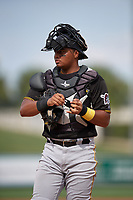 Pittsburgh Pirates catcher Geovanny Planchat (71) during a Florida Instructional League game against the Detroit Tigers on October 16, 2020 at Joker Marchant Stadium in Lakeland, Florida.  (Mike Janes/Four Seam Images)