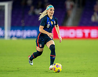 ORLANDO, FL - FEBRUARY 24: Julie Ertz #8 of the USWNT dribbles during a game between Argentina and USWNT at Exploria Stadium on February 24, 2021 in Orlando, Florida.