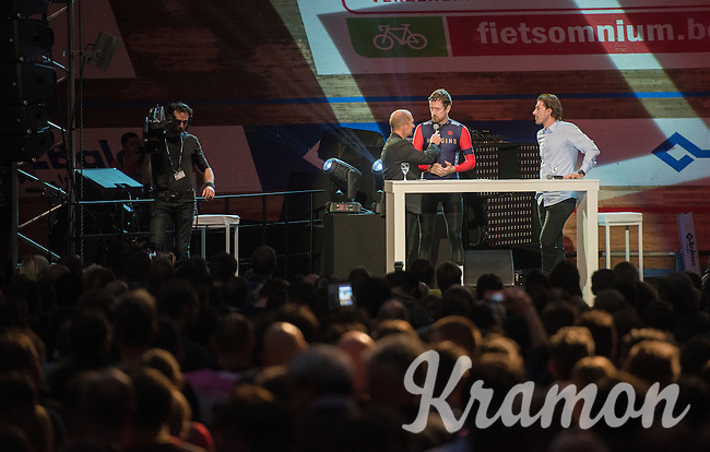 Karl Vannieuwkerke interviewing Sir Bradley Wiggins (GBR/Wiggins) in front of 6000 fans during 'Ciao Fabian'; a farewell event in 't Kuipke in Gent/Belgium for Fabian Cancellara after his retiring from pro racing (november 2016)