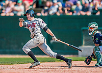 4 September 2017: Tri-City ValleyCats outfielder Jacob Meyers at bat during the first game of a double-header against the Vermont Lake Monsters at Centennial Field in Burlington, Vermont. The ValleyCats split their games, winning 6-5 in the first, then dropping the second 7-4 to the Lake Monsters in NY Penn League action. Mandatory Credit: Ed Wolfstein Photo *** RAW (NEF) Image File Available ***