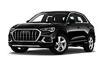 Stock pictures of low aggressive front three quarter view of 2019 Audi Q3 Premium-Plus 5 Door SUV Low Aggressive