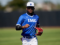 IMG Academy Ascenders outfielder Elijah Green (2) jogs to the dugout during a game against the Lakeland Dreadnaughts on February 20, 2021 at IMG Academy in Bradenton, Florida.  (Mike Janes/Four Seam Images)